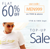 Flat 60% off on minimum purchase of Rs.999 on selected men's wear