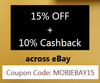 15% off  + 10% cashback across eBay