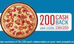 Dominos get 20% off + Rs 200 cashback voucher