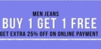BOGO on jeans + 25% off on online payment + payu money off.