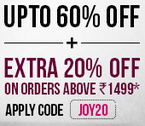 Get Up to 60 % off + Extra 20 % off on orders above Rs. 1499