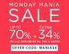 Upto 70% off + extra 34% off on selected styles on minimum purchase of Rs.1199