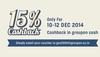 Groupon : 15% Cashback from 10-12 December