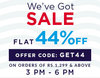 Flat 44% Off on minimum purchase of Rs.1299 on selected styles