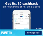 Rs.30 cashback on recharges of Rs.30 and above (Valid for new user - only on the app)