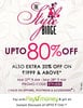 Upto 80% off + extra 20% off on minimum purchase of Rs.1999 on Apparels,Footwear & Accessories