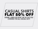 Flat 50% off on branded Casual Shirts for Men