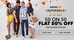 Flat 50% off on 50000 styles + 10% off On payu