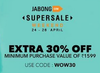 Extra 30% off on minimum purchase of Rs.1599 on selected styles