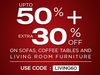 Upto 50% off + extra 30% off on Sofas,Coffee Table & Living room Furniture products