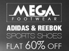 Flat 60% off + extra 15% cashback paid via mobikwik wallet on Sports Shoes by Reebok & Adidas