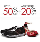 Up to 50% off on Shoes + Get additional 20% off at checkout (More than 3000+ styles) Shoes below Rs 399