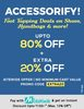 Upto 80% off + extra 20% off on all products with no minimum purchase