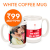 Get a White Coffee Mug for Rs 99 (all inclusive) selling price Rs 298