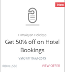 50% Discount on Your Next Himalayan Holiday (maximum amount of  Rs. 2500)