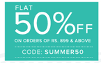 Flat  50% off on 899 or above  (Applicable on Everything)