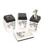 Birde Ceramic Black & White Bathroom Set