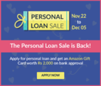 Apply For Personal Loan & Get An Amazon Gift Card Worth RS.2000 On Bank Approval