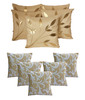 Dekor World Beige Contemporary Polyester 5 Cushion Cover (Buy5 Get5)