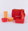 Tupperware Red colour Best Plastic Lunch Box with Insulated Bag - Set of 4