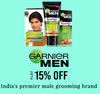 Get Flat 15% off on Garnier Mens products