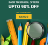 Upto 90% off + Get 20% off on School Supplies.