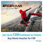 Paytm Offer on Spiderman - 100% cashback UPTO 250 on Spiderman Far From Home tickets (Buy Deal for 99)