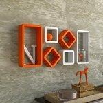 DecorNation 6 Piece Cube Rectangle Designer MDF Wall Shelf, Orange and White