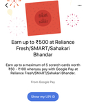Reliance Fresh Smart Gpay upto 500 cashback