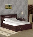 Osen Queen Size Bed with Drawer Storage in New Oak Finish by Mintwud 63% Off