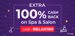 100% cashback in little app on all spa and salons