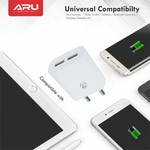 ARU AR-211 Dual Port Mobile Charger(White, Cable Included)