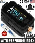 Dr Trust (USA) Signature Series FingerTip Pulse Oximeter with AUDIO VISUAL ALARM water resistant (Black)