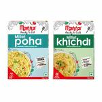 Manna Ready to Eat Millet Poha & Ready to Cook Millet Khichdi, Breakfast Combo Pack of 2, 180g Each