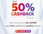 LazyPay :- Get 50% Cashback upto Rs. 100 on first TataSky transaction