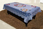 Kuber Industries Floral Cotton 4 Seater Centre Table Cover - Sky Blue