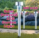S M Arcade Solar Powered Rechargeable LED Lawn Garden Light Lamp Waterproof Battery (Silver)