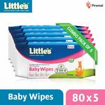 Little's Soft Cleansing Baby Wipes with Aloe Vera, Jojoba Oil and Vitamin E (80 Wipes) Pack of 5