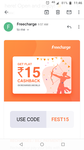 Get 100% cashback upto 15 on freecharge(user specific)