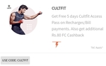 Freecharge:-CULTFIT Free 5 days Access At Min 10 rs Recharge use CULTFIT and Additional 80 Rs Freecharge Cashback