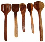 Brown Wooden Skimmer Spoons - Set Of 5