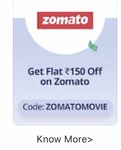 Flat 150 off on ZOMATO on booking paytm movies