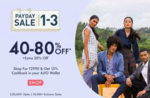 Ajio Payday Sale 1-3 Nov :- 40-80% off + Extra 20% off     Shop for Min 2999₹ & Get 15% Cashback in Ajio Wallet    Extra 10% Cashback using HDFC Cards