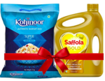 Saffola Gold Oil 10L + Kohinoor Super Value Basmati Rice 10kg