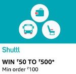 AMAZON pay- shuttl offer get 50-500 cashback on Min transaction of 100