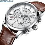 92% Off On CRRJU New Fashion Men Watches Analog Quartz Wristwatches 30M Waterproof Chronograph Sport Date Leather Band Watches montre homme