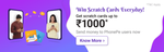 Win scratch cards up to ₹1000* 3 times every day on your 3rd, 6th & 9th money transfer to different PhonePe users