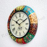 Vintage Clock Wooden Hand-Painted Clock / 1 Year Warranty / 16 INCHES (40 CMS)