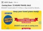 HDFC Festive Treats Sale Offer - Biggest 72 Hours Travel sale ( 11 - 13 Nov )
