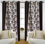 Homefab India Multi Style Modern Eyelet Polyester Window Curtain - 6ft, Black